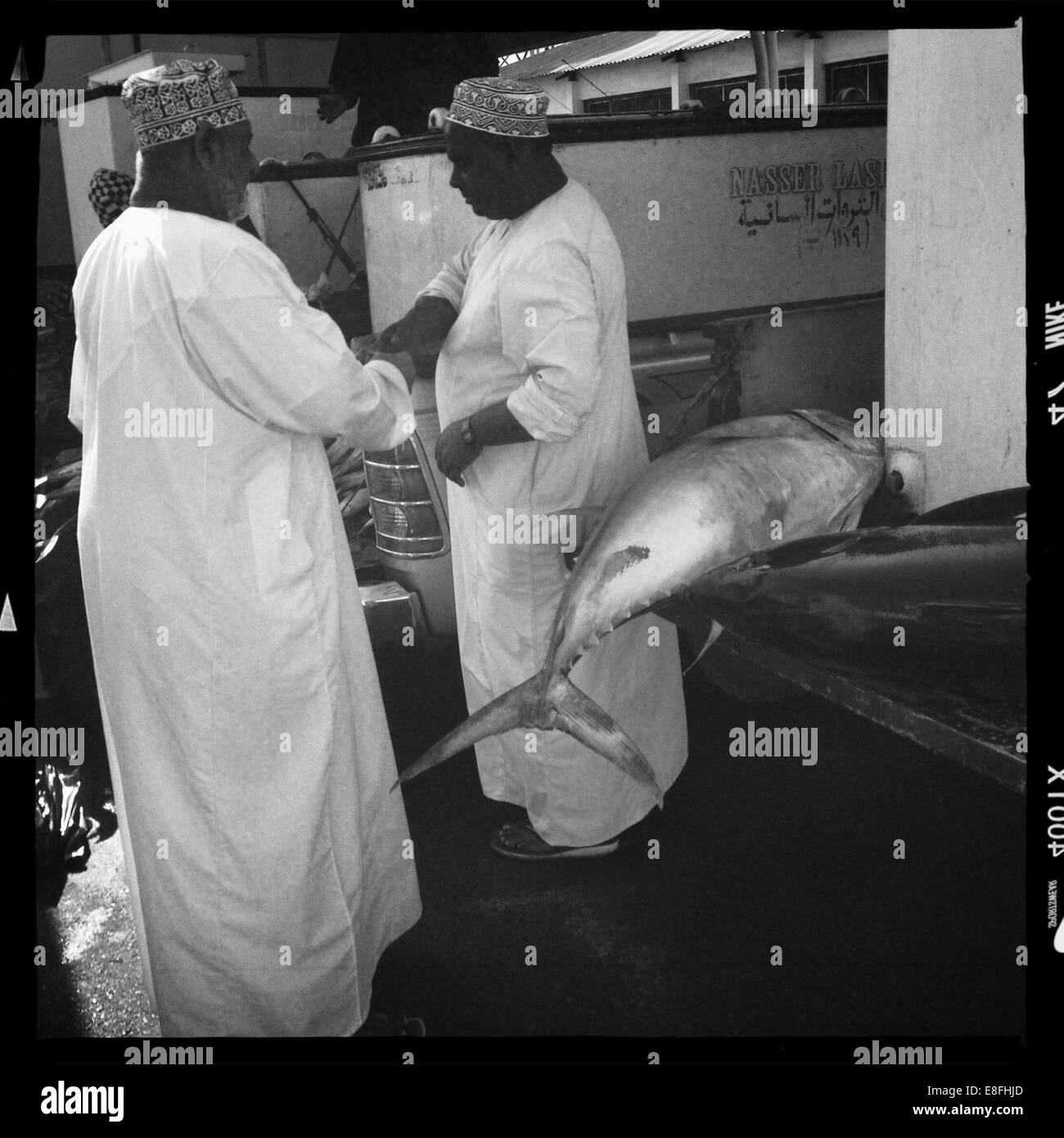Oman, Muscat, Yellowfin tuna sale at market - Stock Image