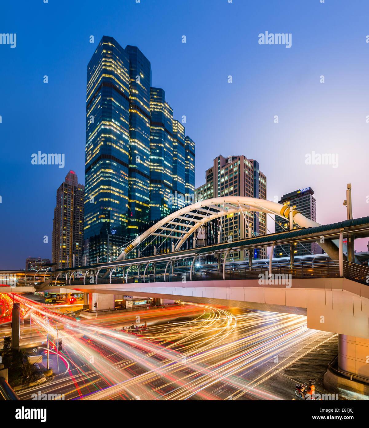 Thailand, Bangkok, Bang Rak District, View of Chong Nonsi BTS Station at night - Stock Image
