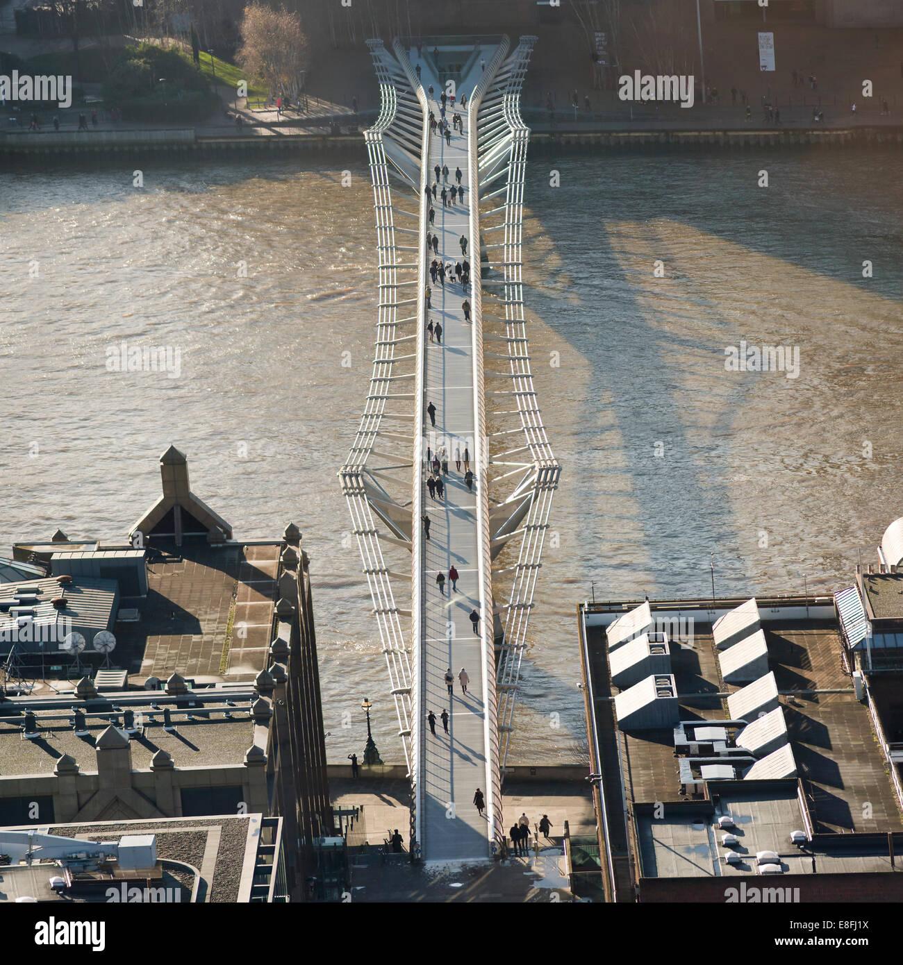Aerial view of Millennium Bridge, London, England, UK - Stock Image