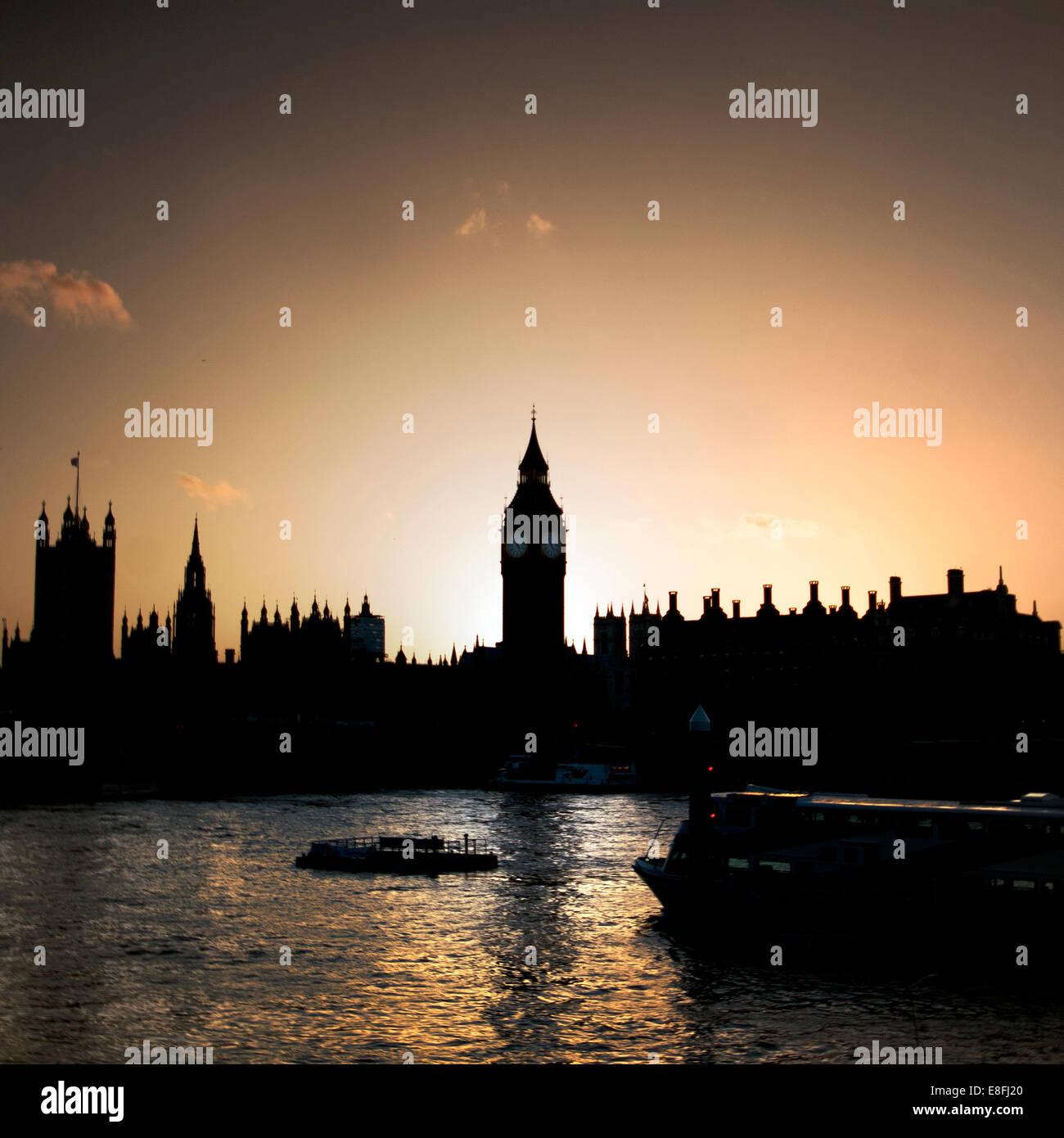 Houses of Parliament and Big Ben at sunset, London, England, UK - Stock Image