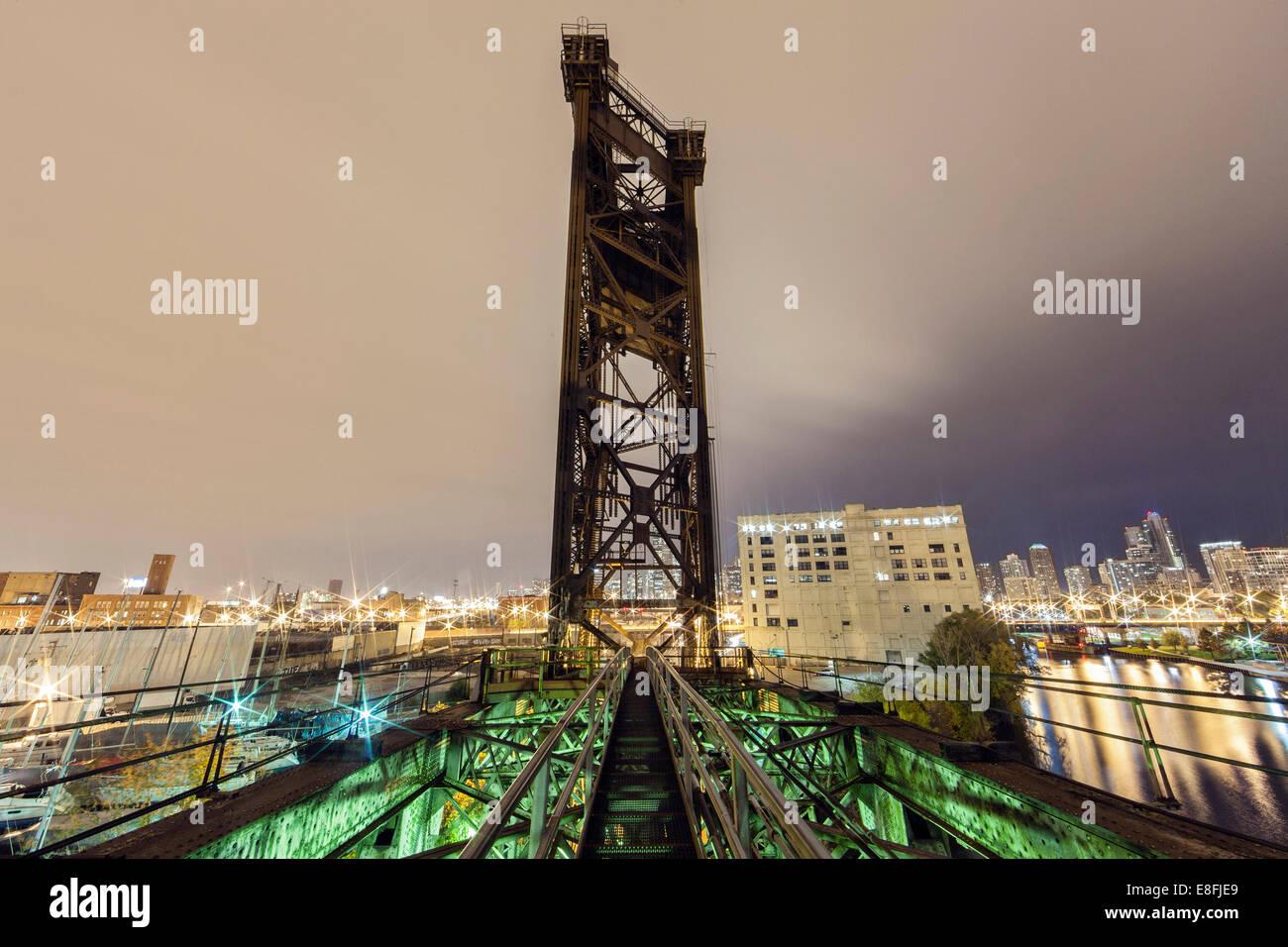 USA, Illinois, Cook County, Chicago, Chinatown Bridge - Stock Image