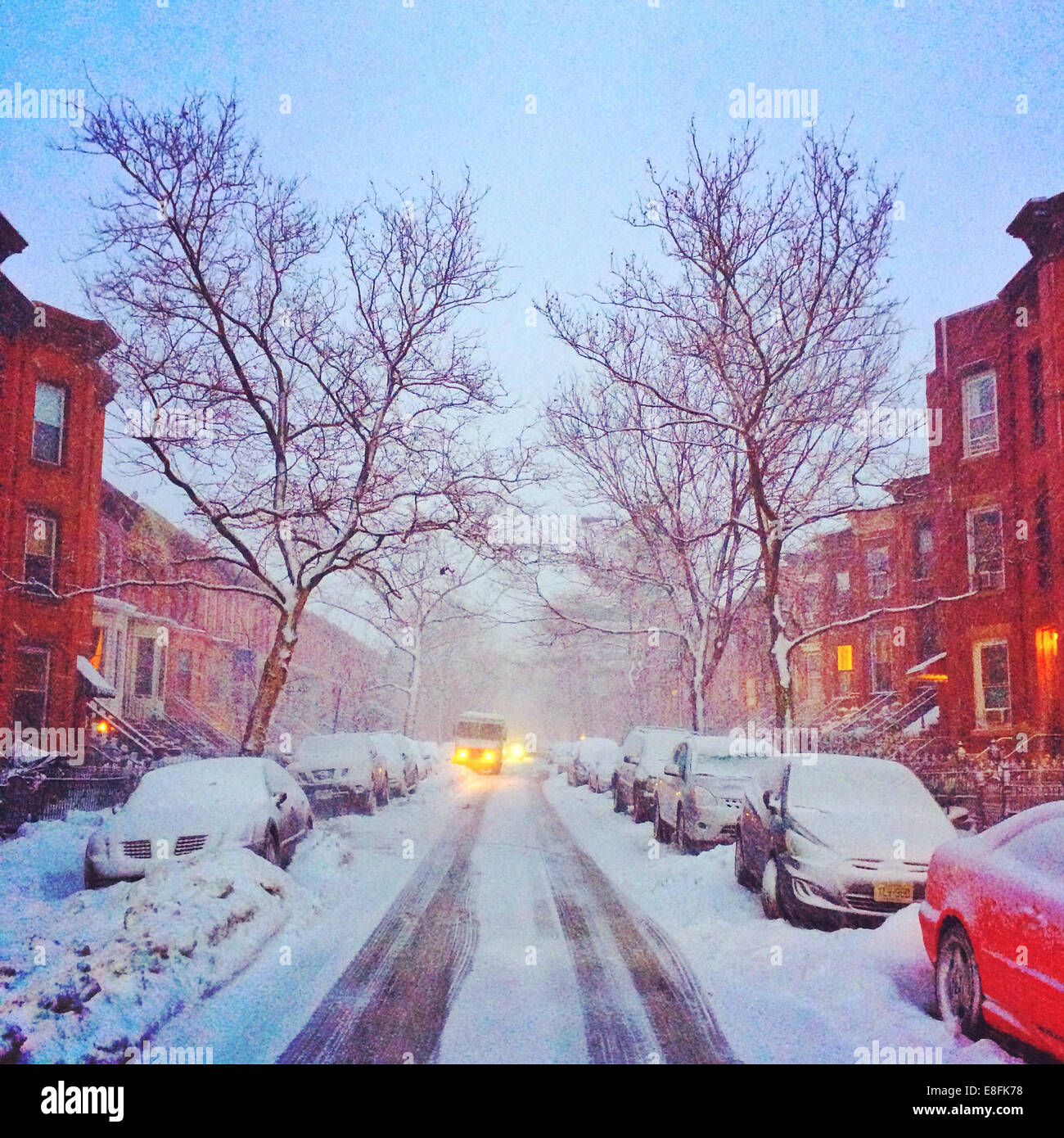 USA, New York State, New York City, Brooklyn in snow - Stock Image