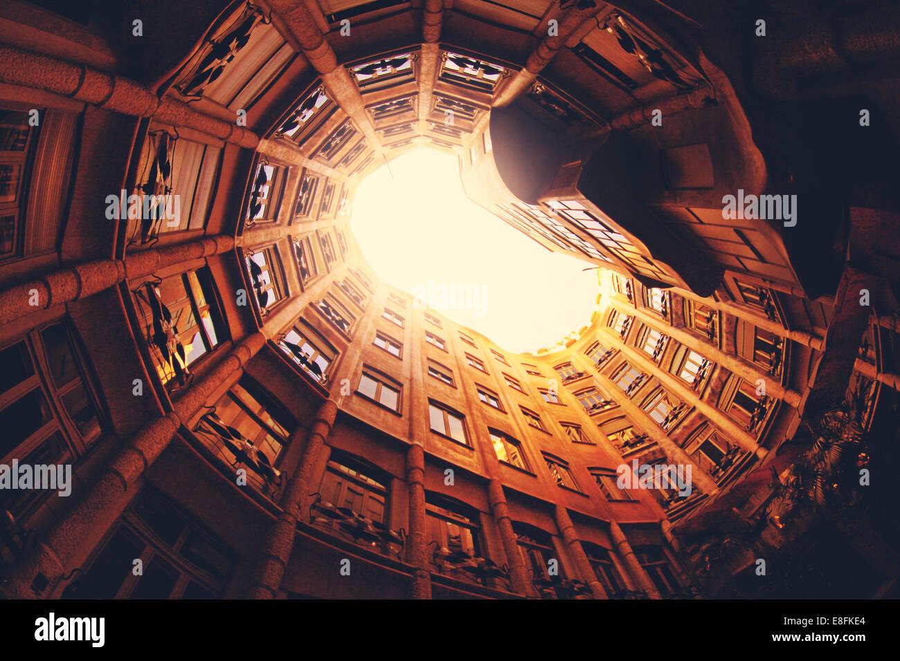 Spain, Barcelona, La Pedrera, Low angle view of building - Stock Image