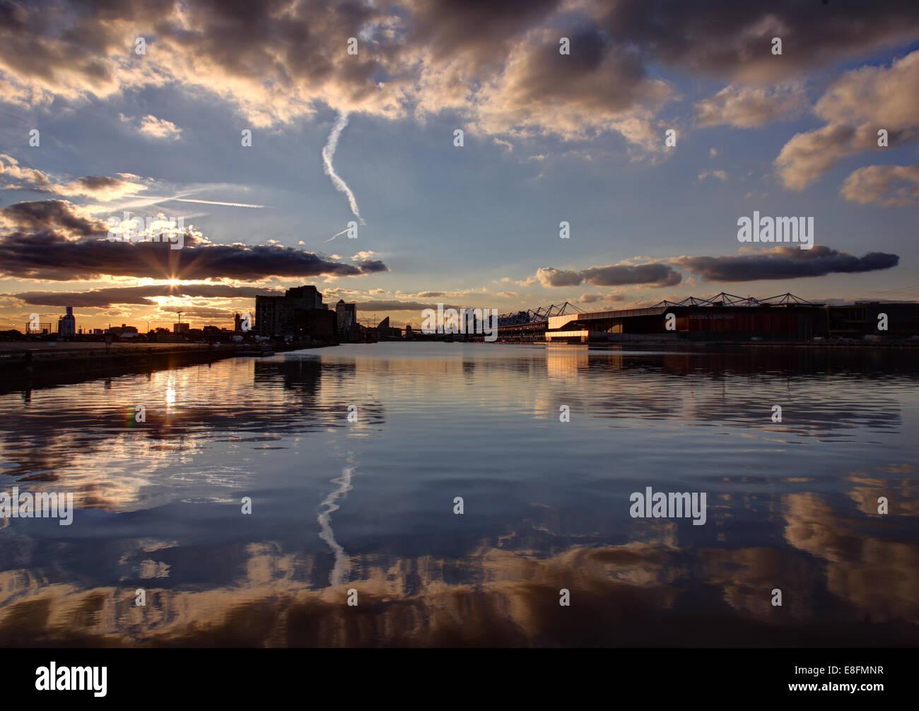 United Kingdom, England, London, Royal Victoria Docks at Canary Wharf - Stock Image