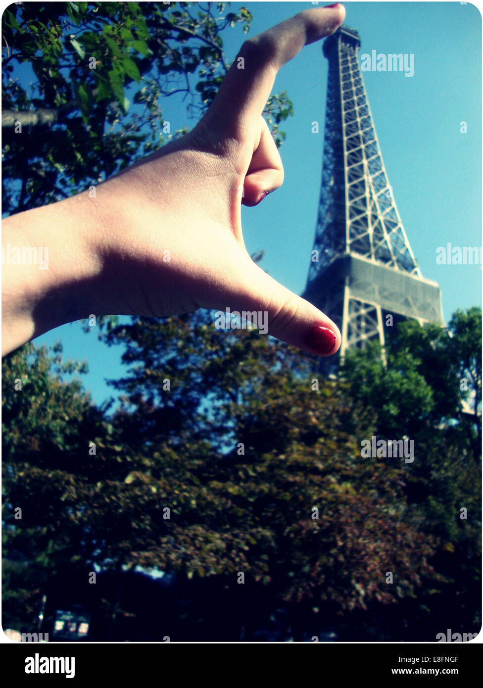Paris, Hand and Eiffel Tower - Stock Image