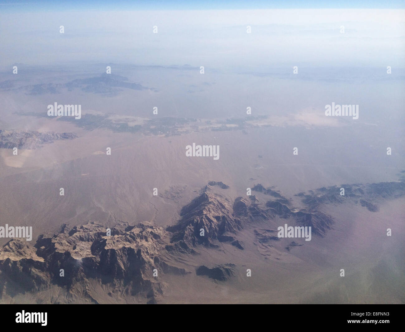 Iran, Mountain range from above - Stock Image