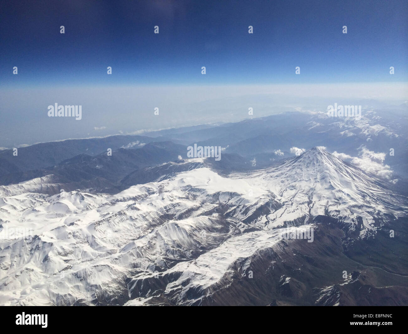 Iran, Aerial view of Mt Damavand in Alborz mountains range - Stock Image