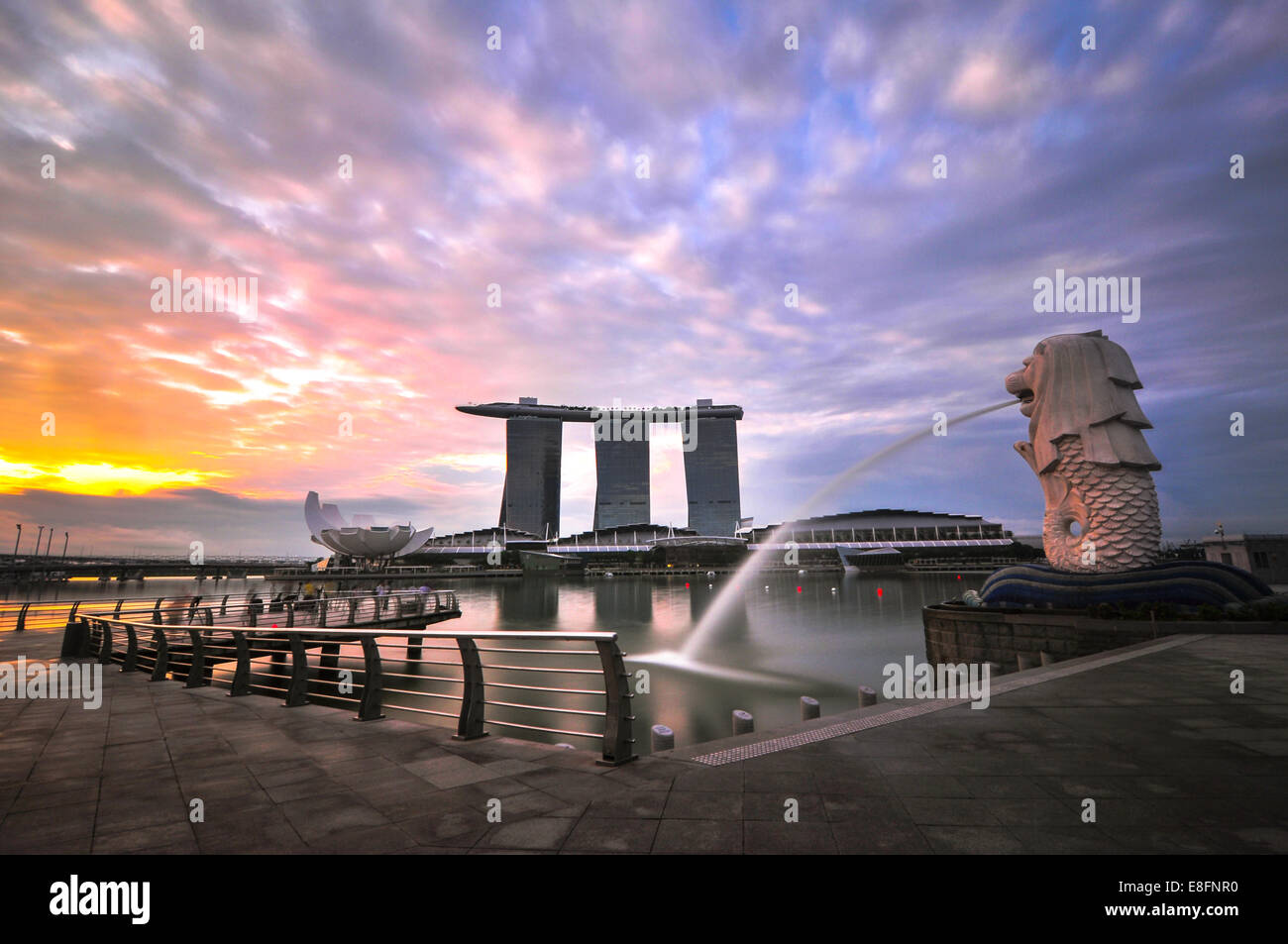 Singapore, Merlion, View of Merlion Statue - Stock Image