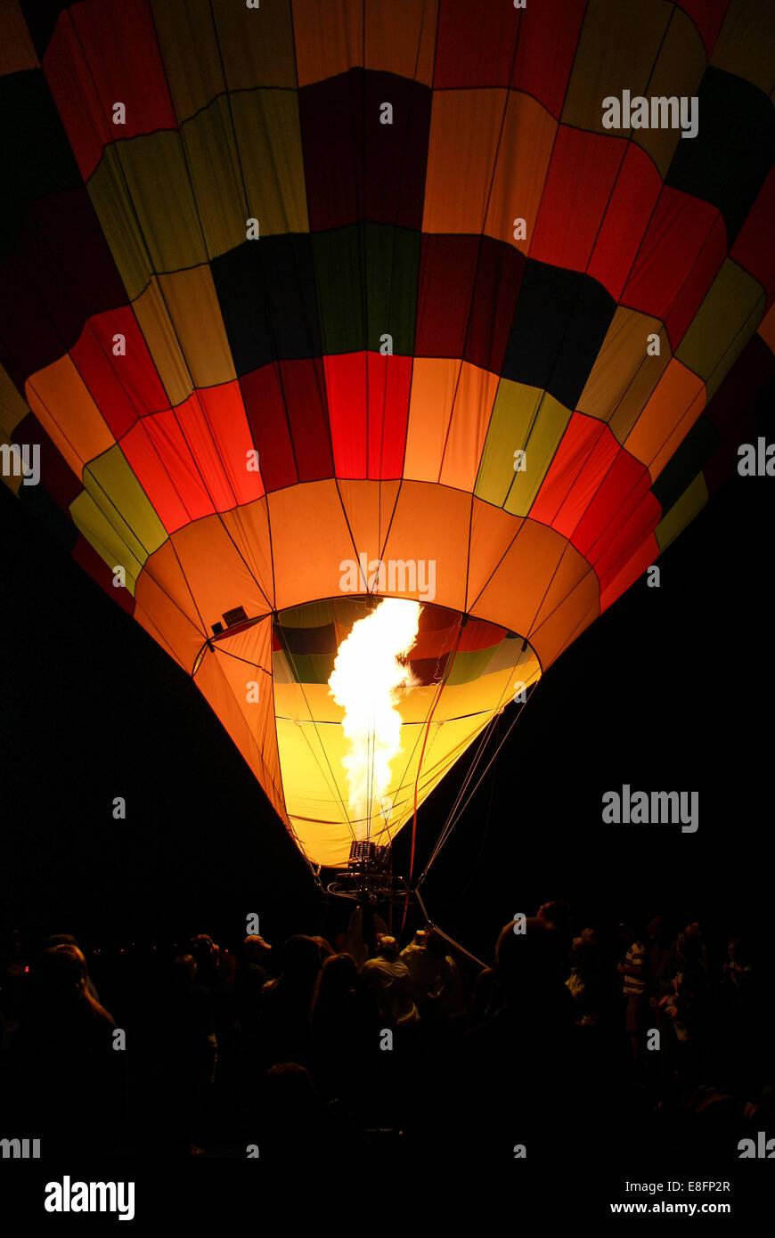 USA, Utah, Eden, Hot Air Balloon taking off during Ogden Valley Balloon Festival - Stock Image