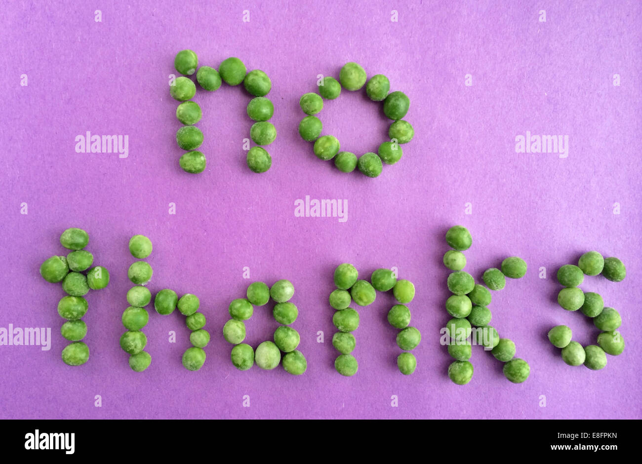 No thanks message written with peas - Stock Image
