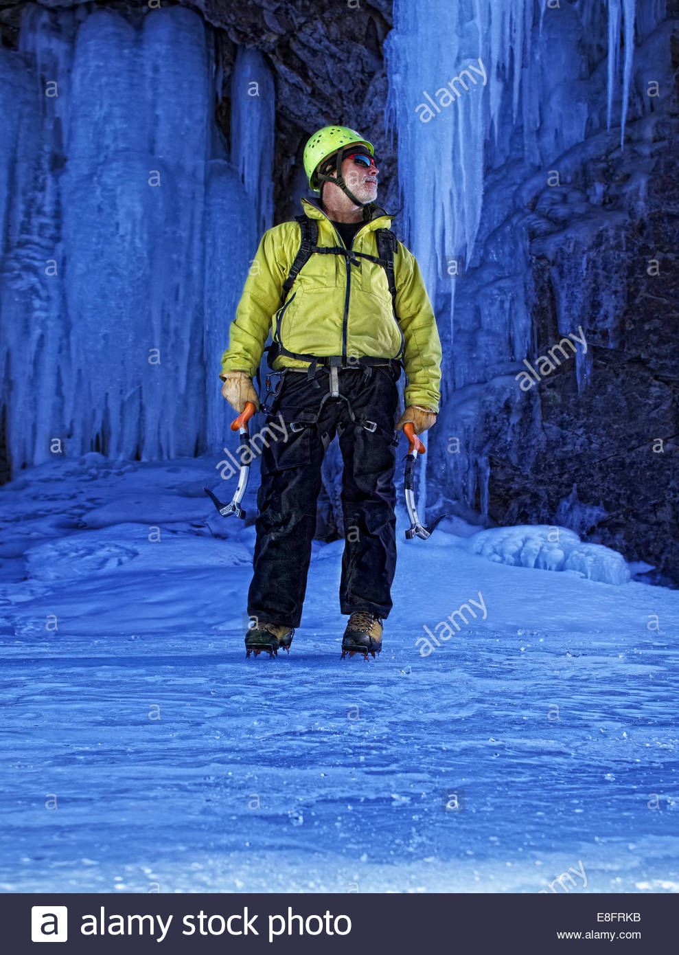USA, Colorado, Lake City, Portrait of ice climber - Stock Image