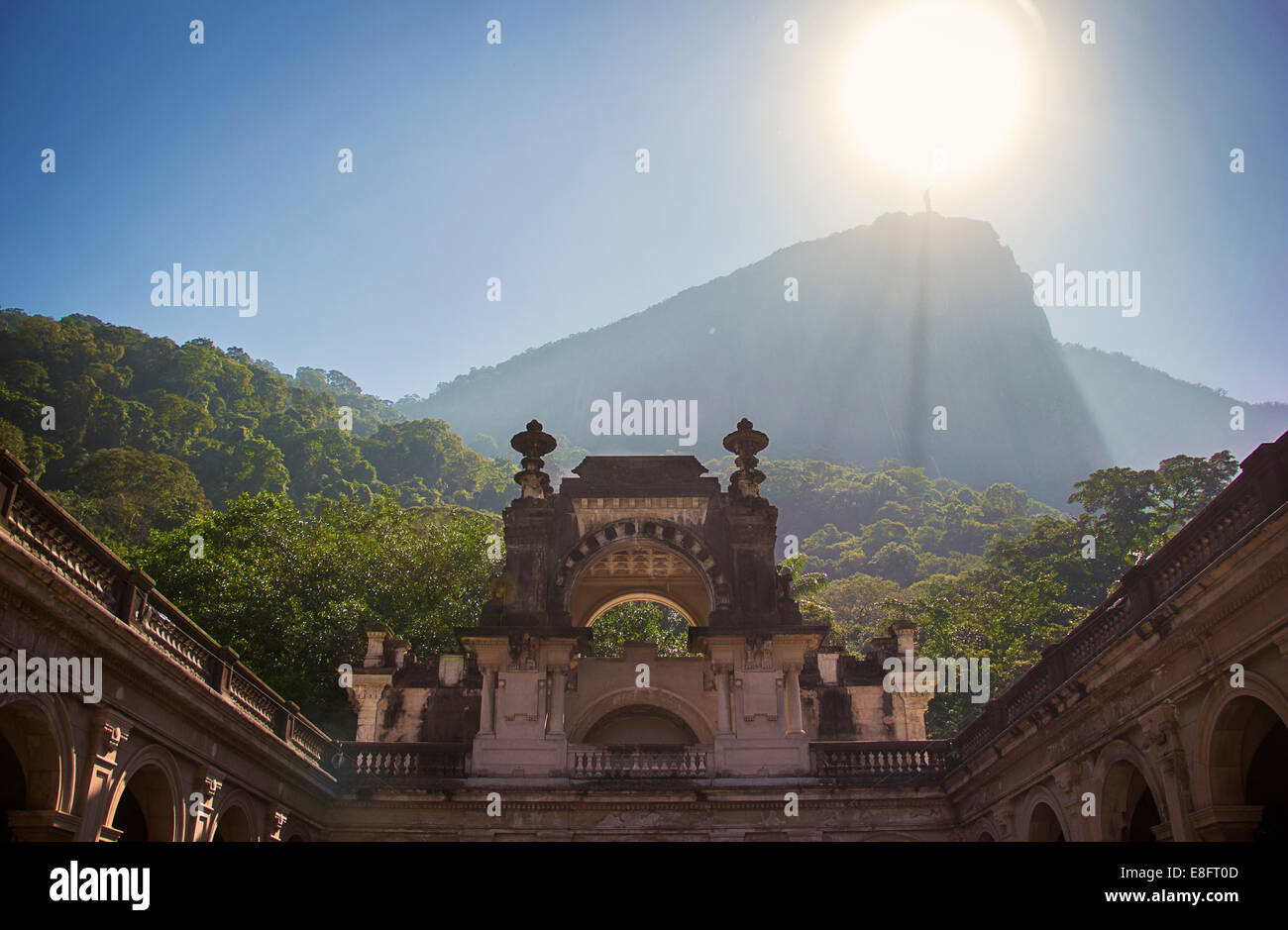 Distant view of Christ Redeemer Statue, Rio de Janeiro, Brazil - Stock Image
