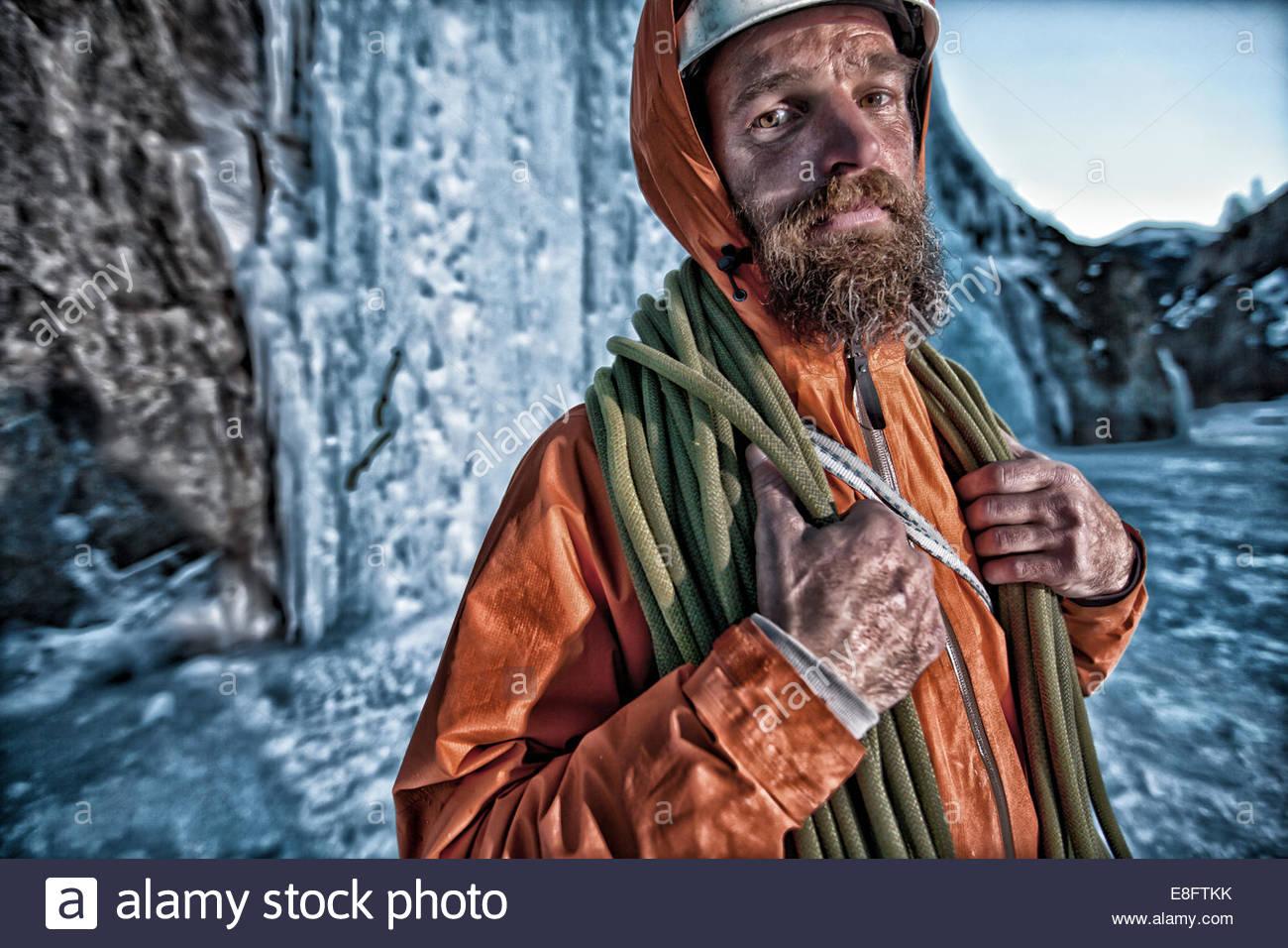 Portrait of male ice climber, Lake City, Colorado, America, USA - Stock Image