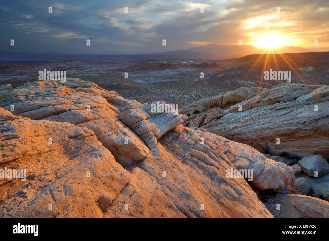 USA, Nevada, Valley of Fire State Park, Sunrise in Desert - Stock Image