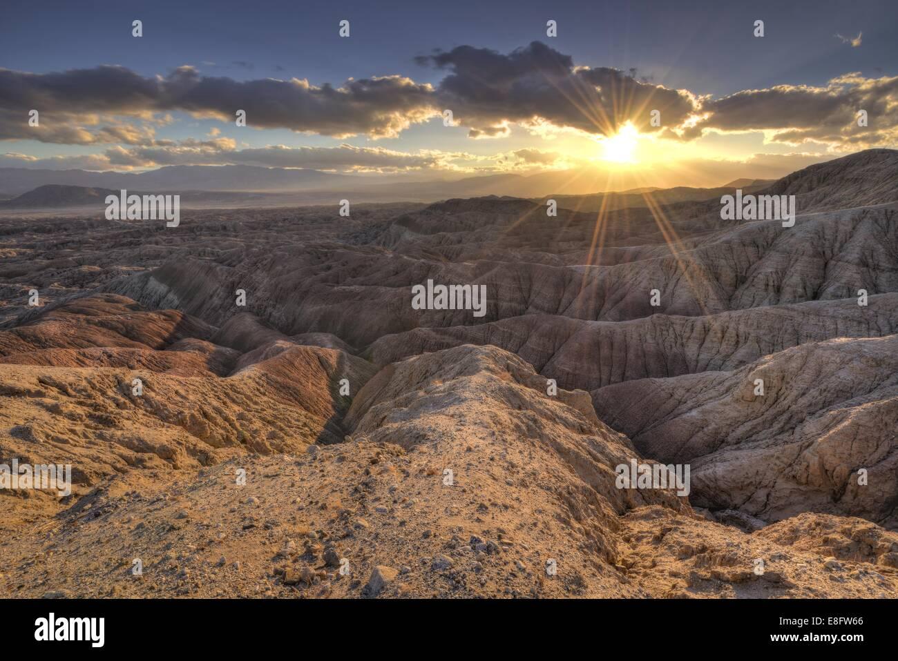USA, California, Anza-Borrego Desert State Park, Sunset in Badlands - Stock Image