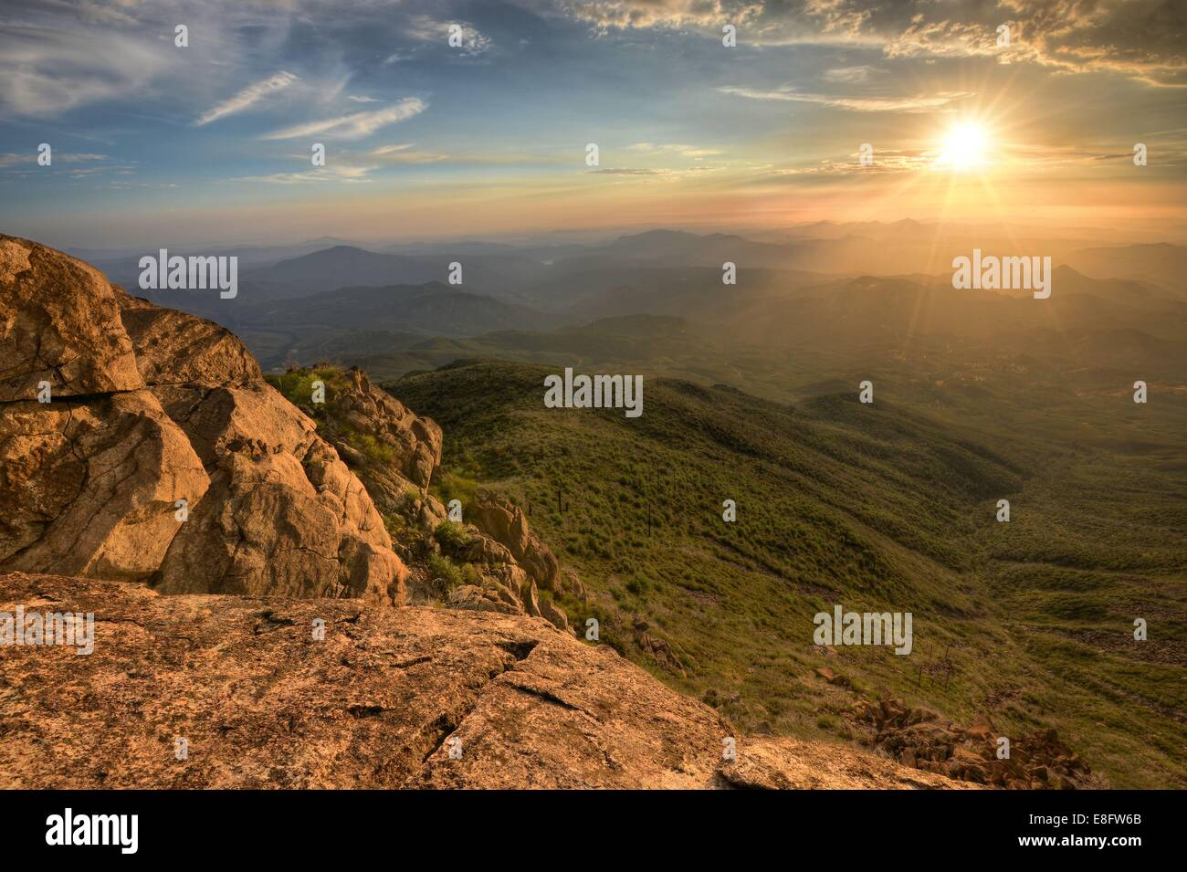 USA, California, Rancho Cuyamaca State Park, San Diego County, Sunset from Cuyamaca Mountain - Stock Image