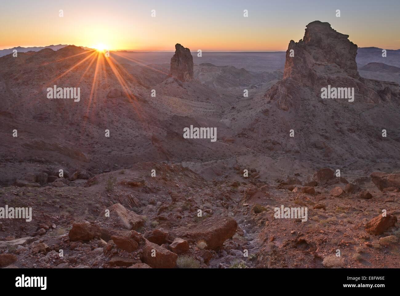 USA, California, Picacho Peak Wilderness, Sentinels of Picacho Sunset - Stock Image