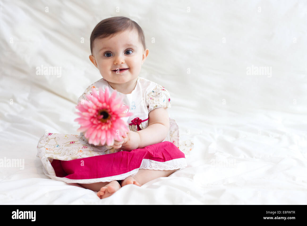 Portrait Of Cute Baby Girl 12 17 Months Playing With Flower Stock