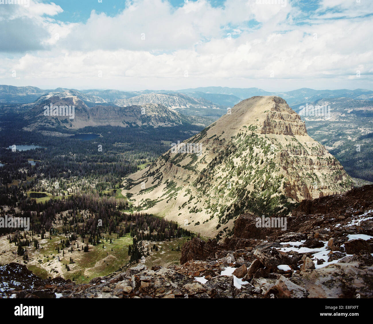 USA, Utah, Aerial view of mountains and valleys from Bald Mountain - Stock Image