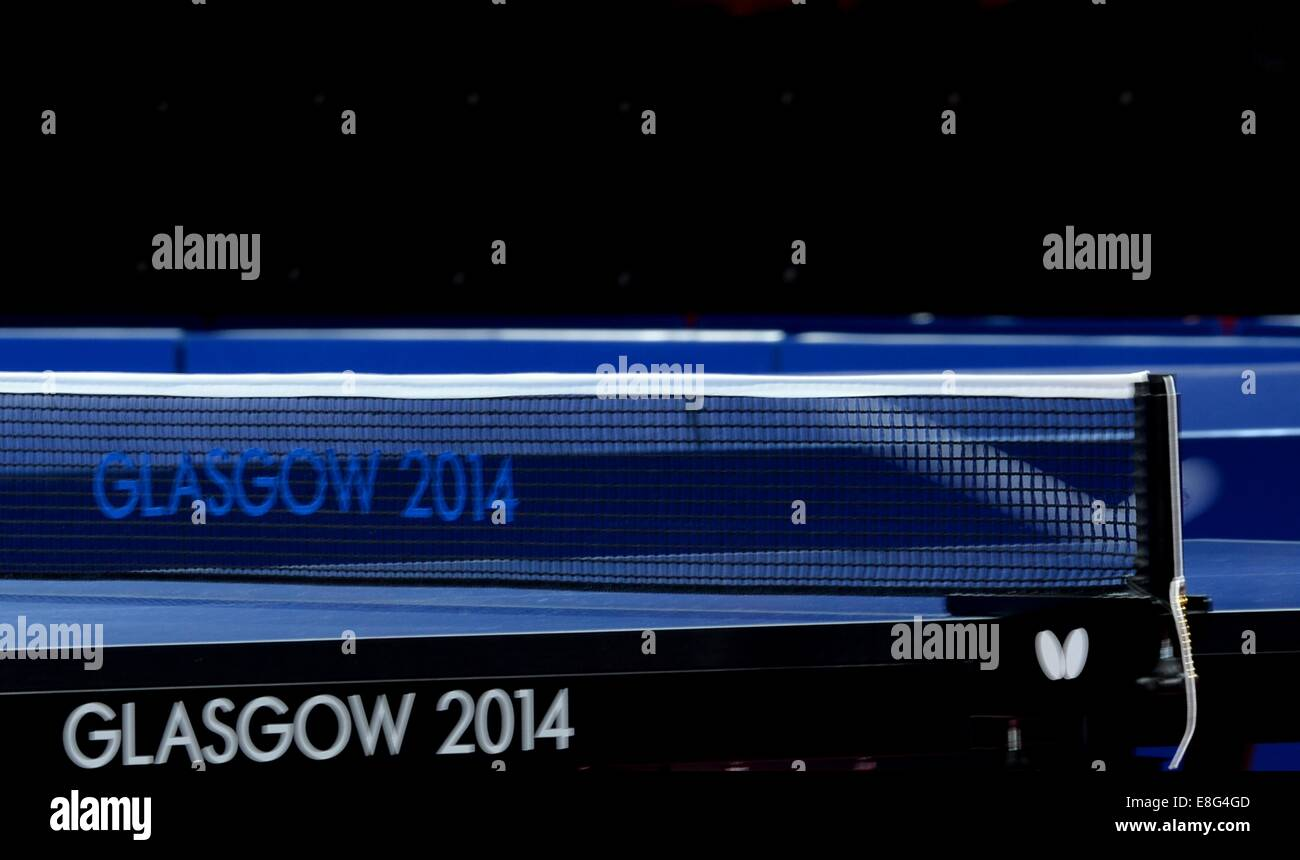 The ball going over the net. Table tennis.Scotstoun Sports Campus, Glasgow, Scotland, UK -  270714 - Glasgow 2014 - Stock Image