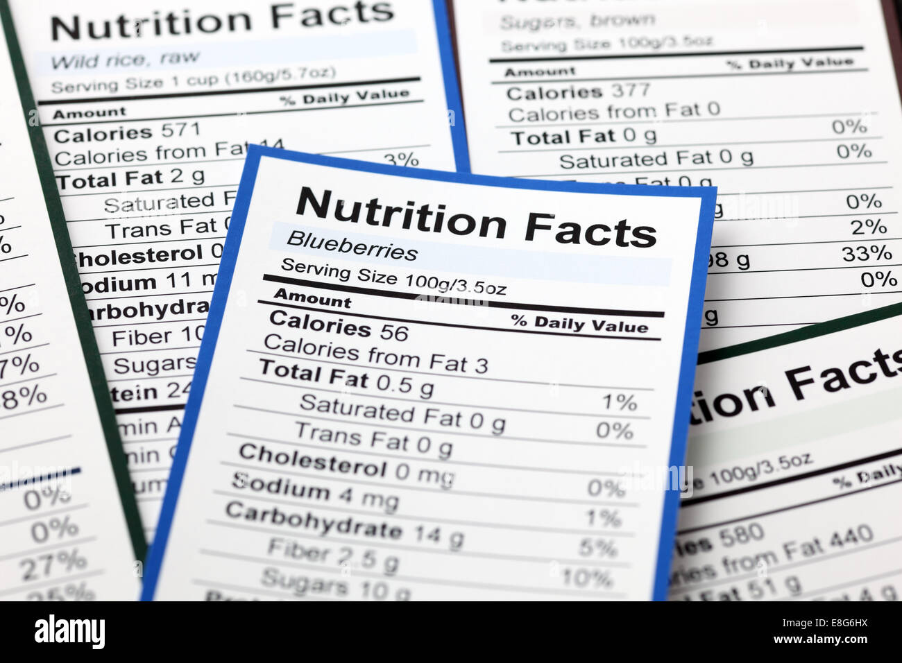 Lots of Nutrition facts. Close-up. - Stock Image