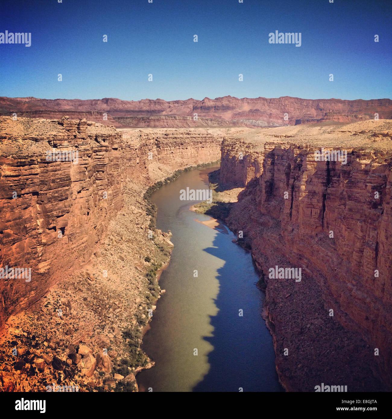 View of Colorado river from Navajo Bridge, Arizona, America, USA - Stock Image