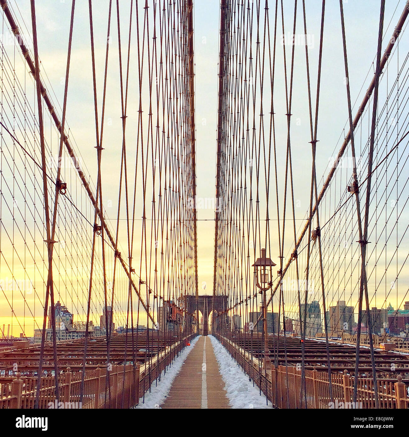 Brooklyn bridge at sunset, New York, America, USA - Stock Image