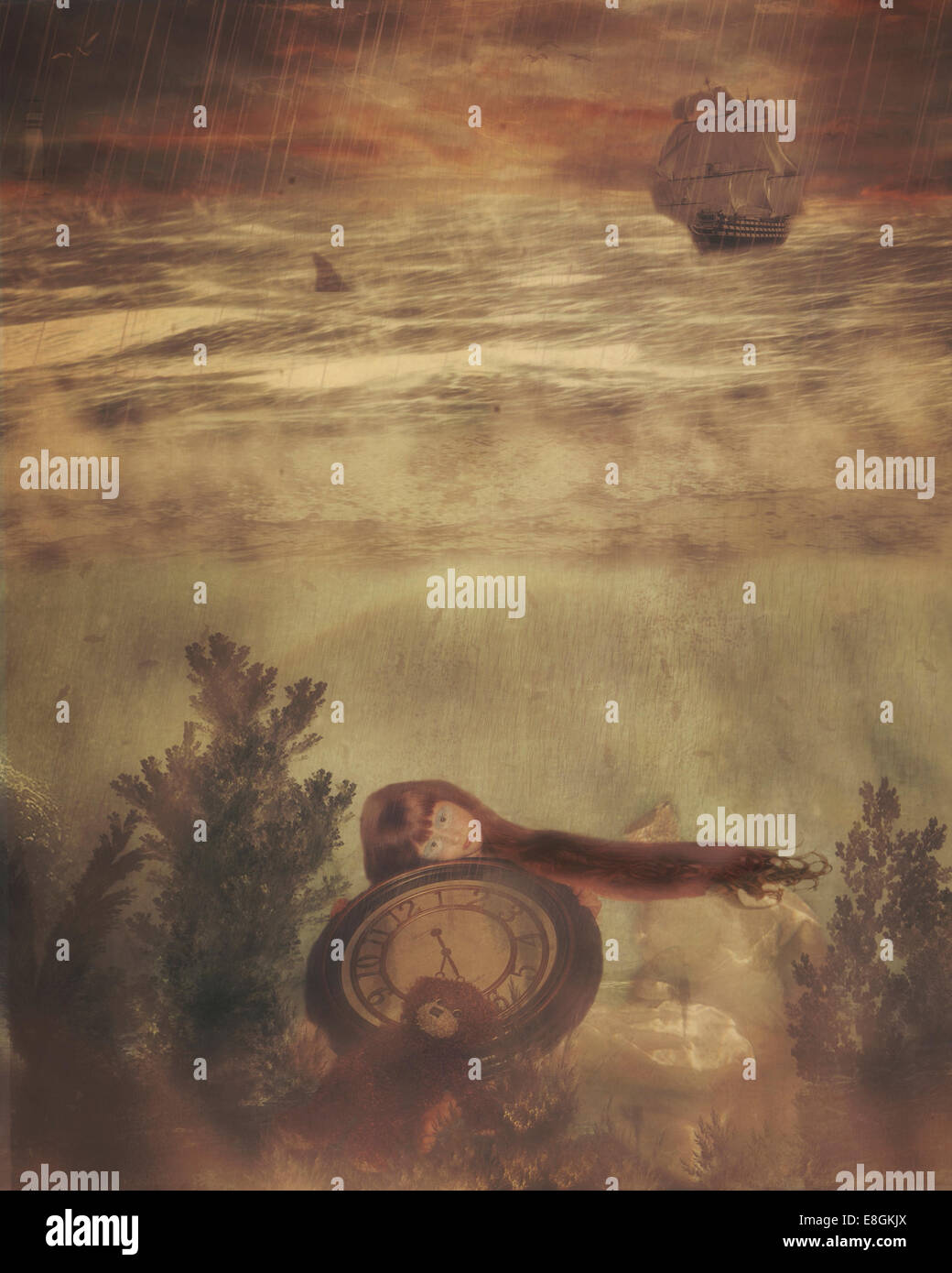 Illustration of girl holding big clock underwater - Stock Image