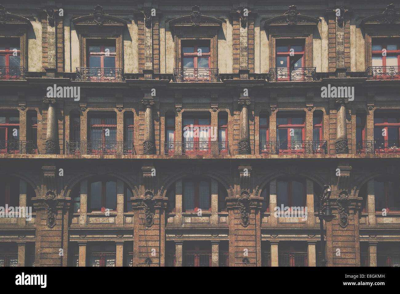 Mexico, Mexico City, Facade of houses - Stock Image