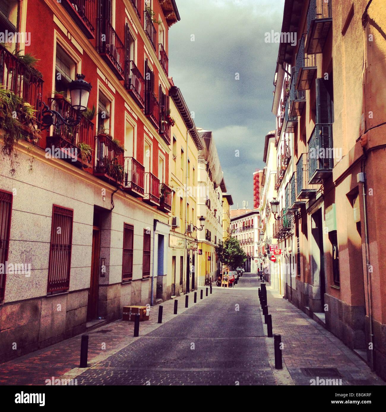 Spain, Madrid, Barrio de las Letras, Little street - Stock Image