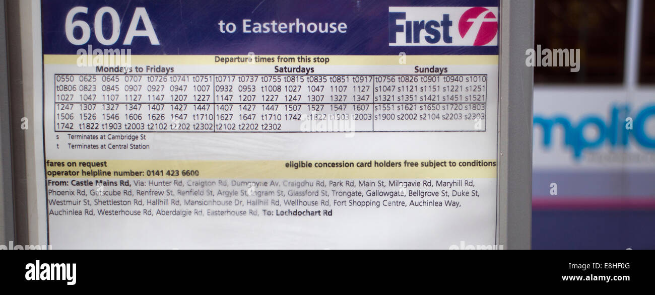 Glasgow First Bus Timetable With A Blurred Bus In The Background