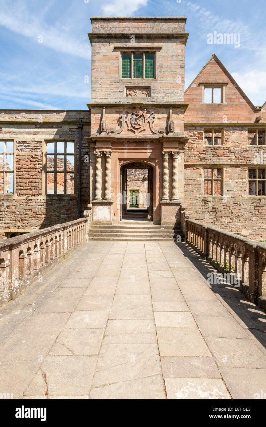 The 19th century bridge leading to the house at 12th century Rufford Abbey, Rufford Country Park, Nottinghamshire, - Stock Image