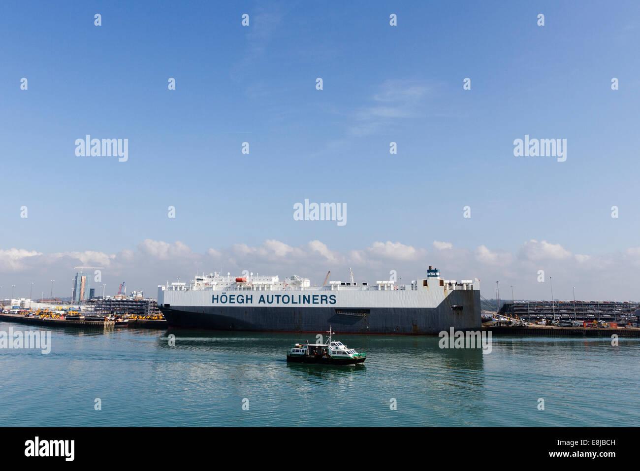 Hoegh Autoliners, car carrier, shipping company, Southampton docks, England, UK - Stock Image