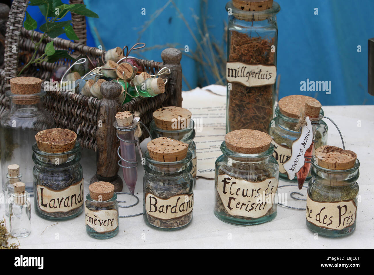 Trade in herbs. Herbalist production. - Stock Image