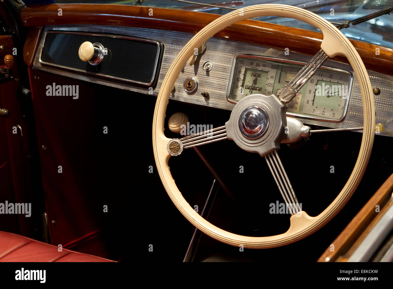 https://c7.alamy.com/comp/E8KCKW/dashboard-and-steering-wheel-of-a-1939-lancia-aprilia-cabriolet-E8KCKW.jpg