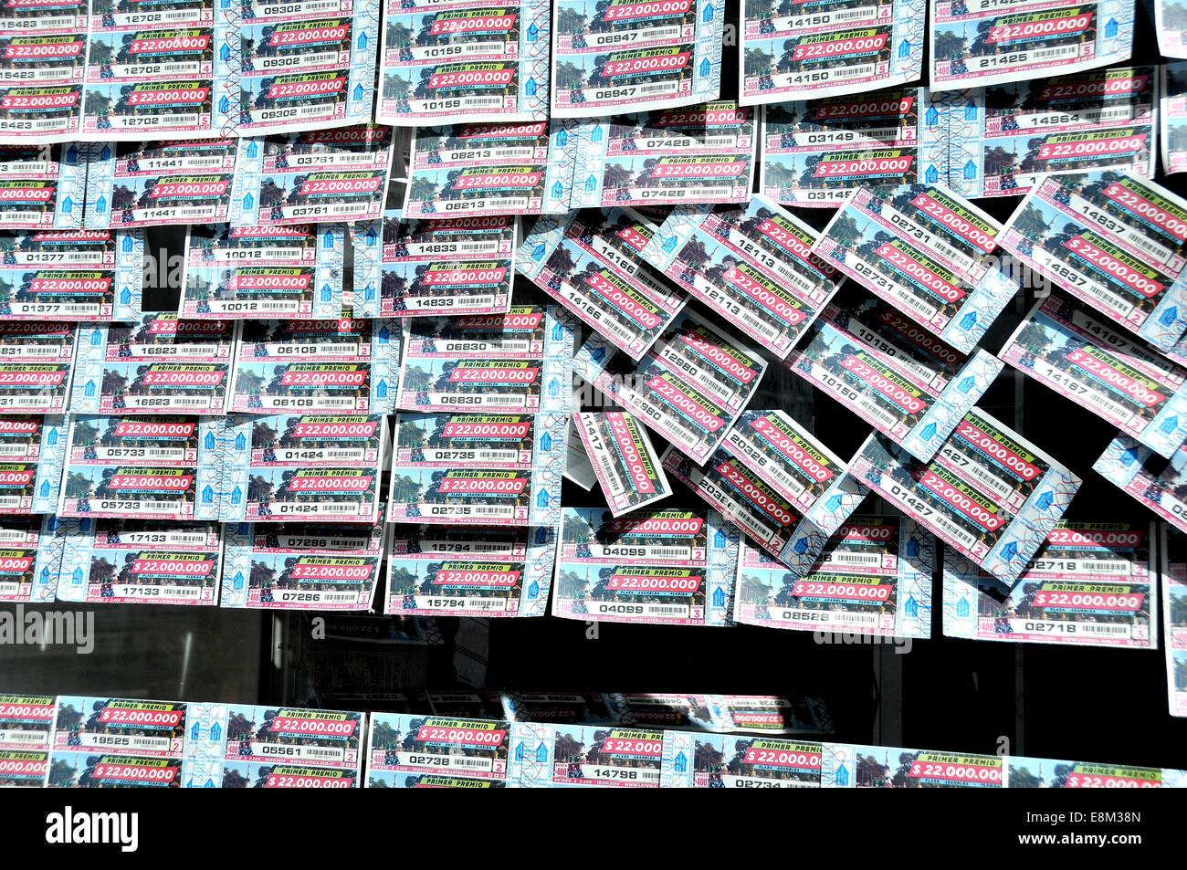 lottery tickets Montevideo Uruguay - Stock Image