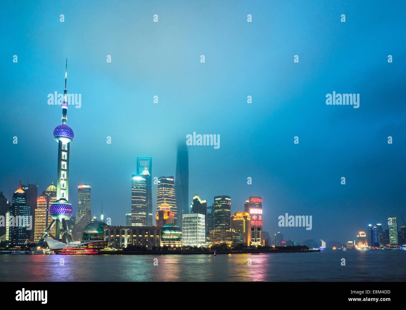 Skyline of shanghai the bund at night, landmark of China. - Stock Image