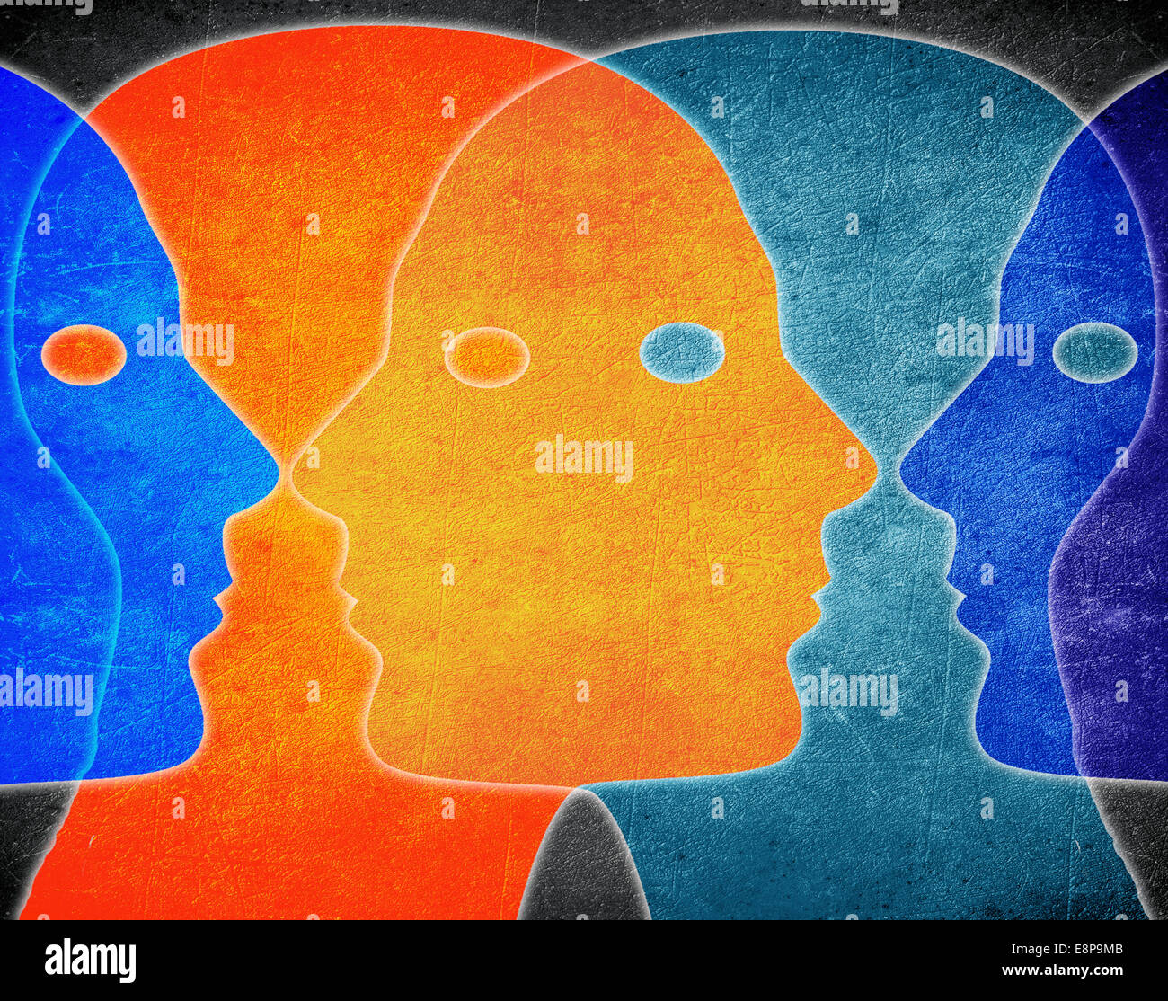 four heads colors digital illustration - Stock Image