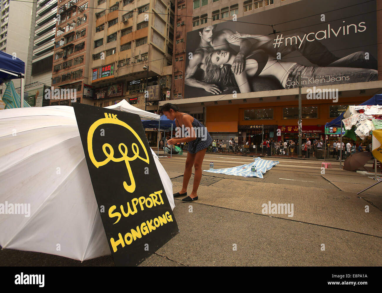 Hong Kong, CHINA. 9th Oct, 2014. A small group of pro-democracy activists continue to shut down important thoroughfares - Stock Image