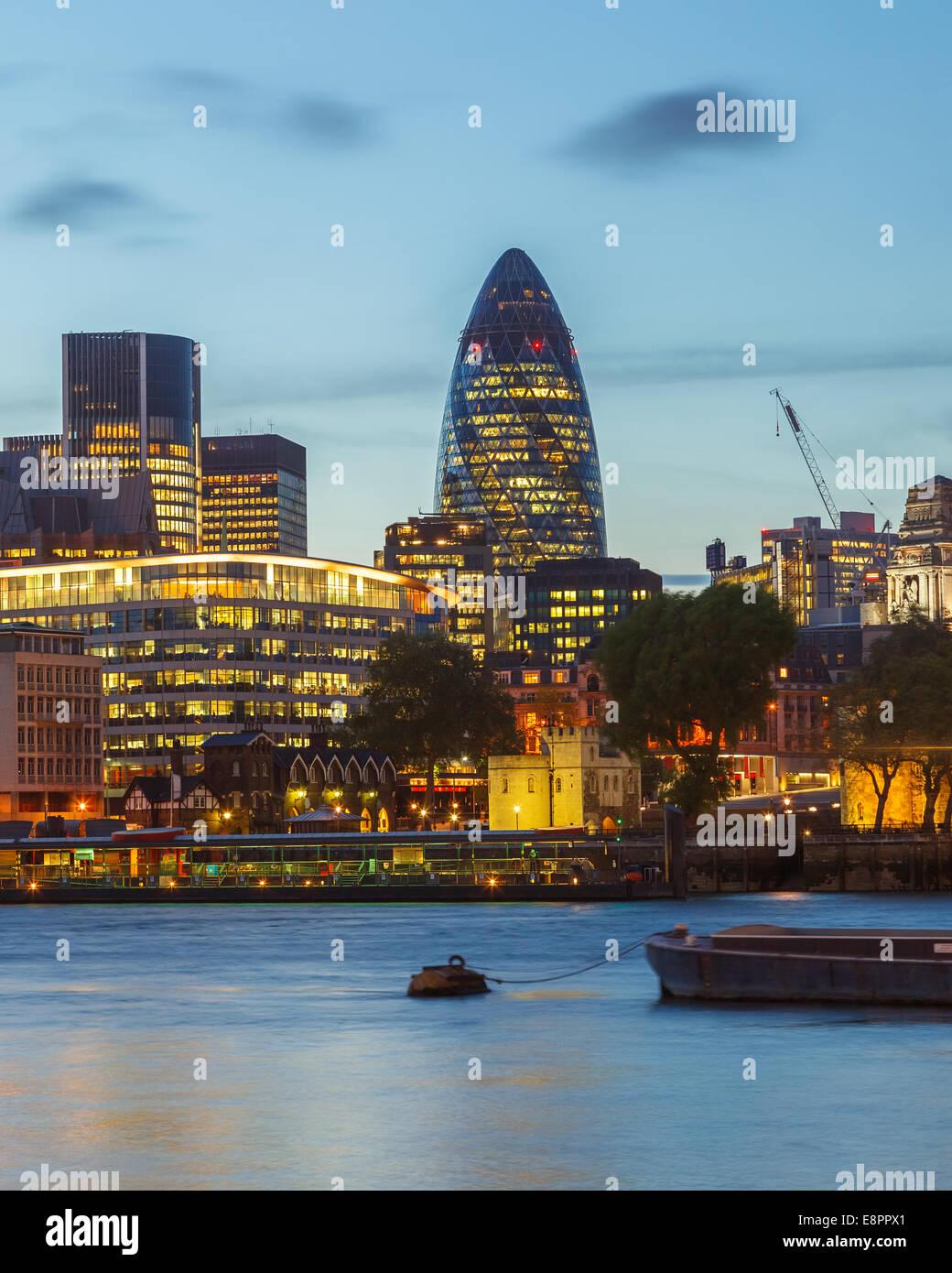 London City at night - Stock Image
