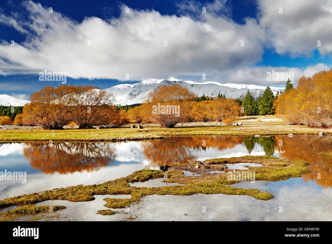 Mountain landscape, Lake Tekapo, New Zealand - Stock Image