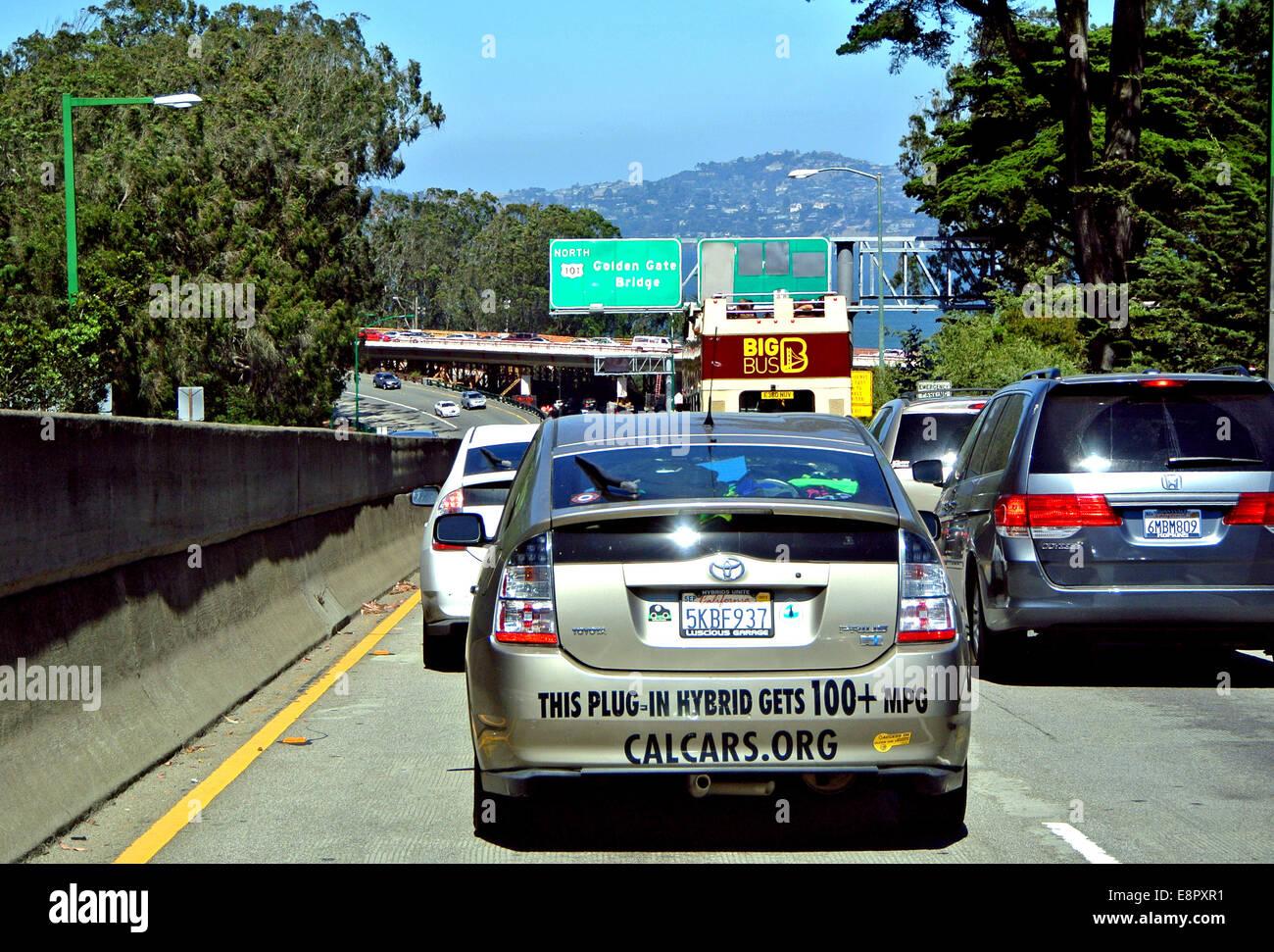 plug in hybrid in traffic in San Francisco California - Stock Image