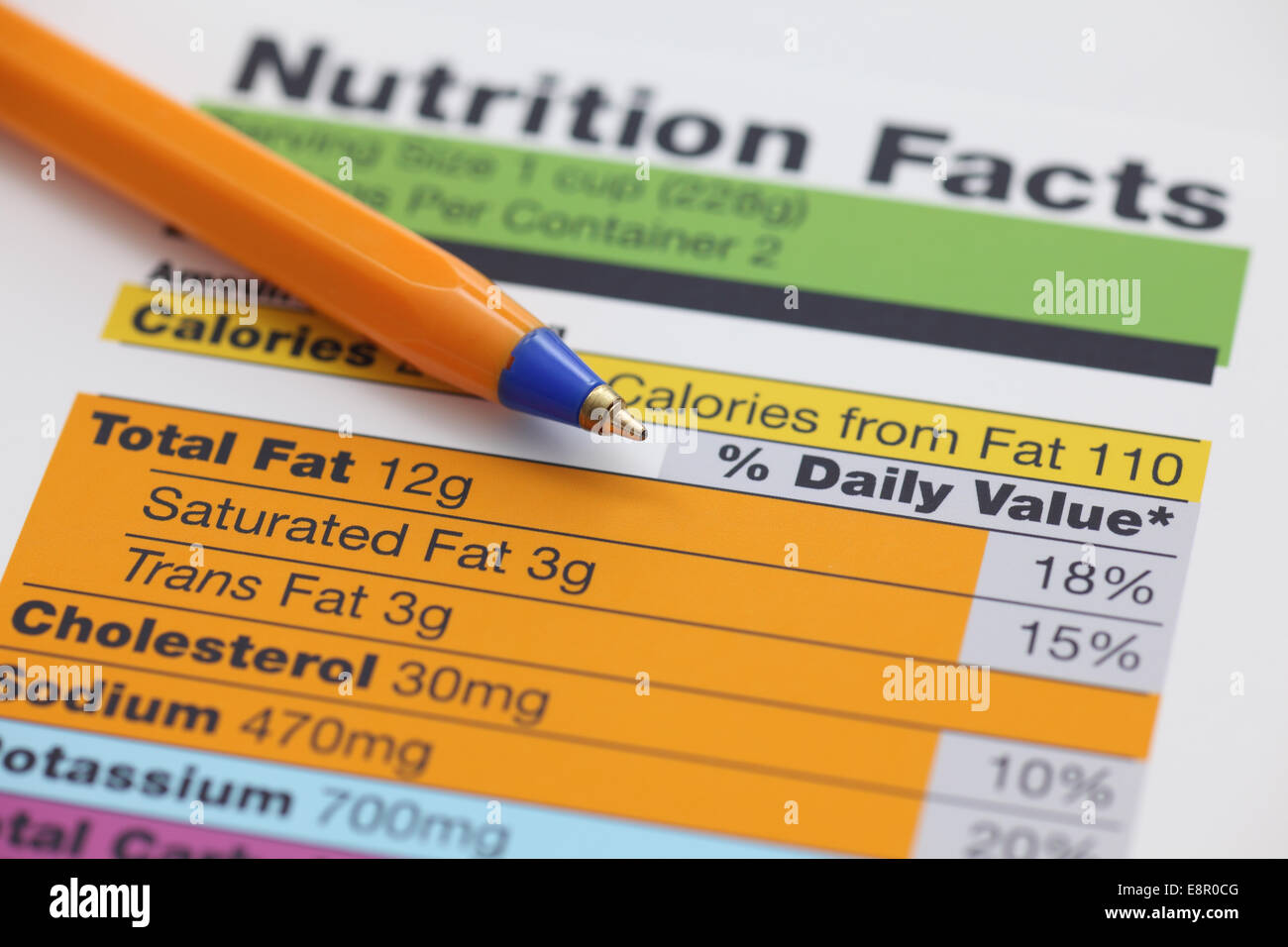 Nutrition facts and ballpoint pen. Close-up. - Stock Image