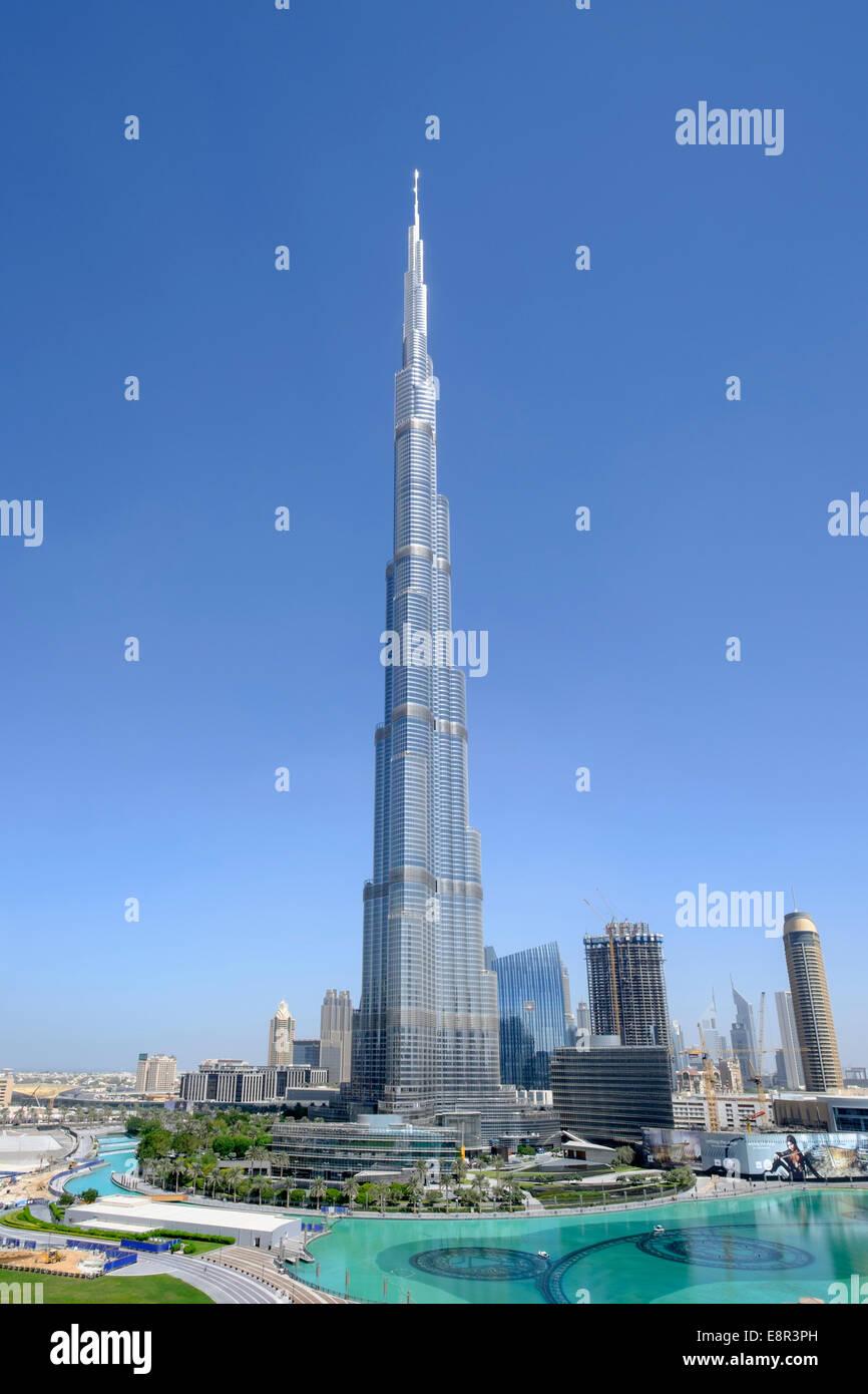 Burj Khalifa tower in Downtown Dubai United Arab Emirates - Stock Image