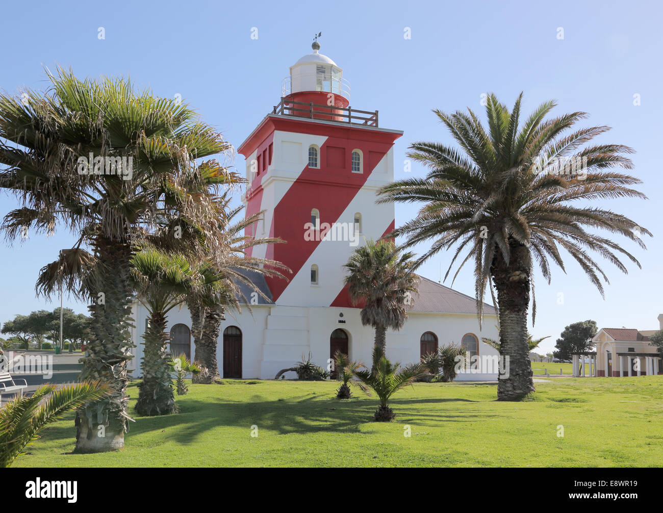 mouille point lighthouse at green point cape town - Stock Image