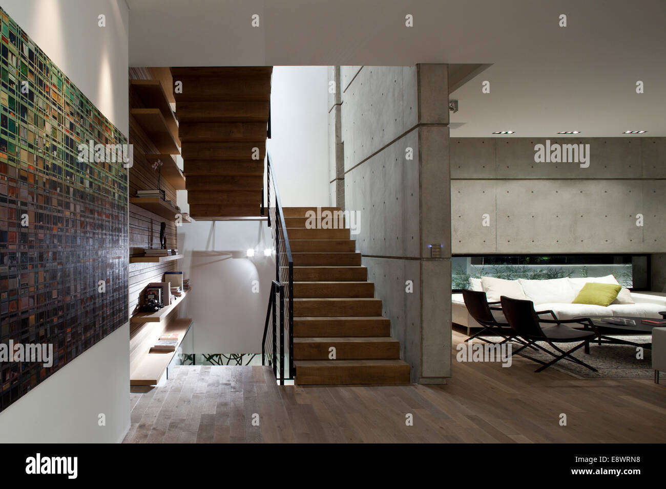 Open Plan Living Room And Staircase In D House, Israel, Middle East