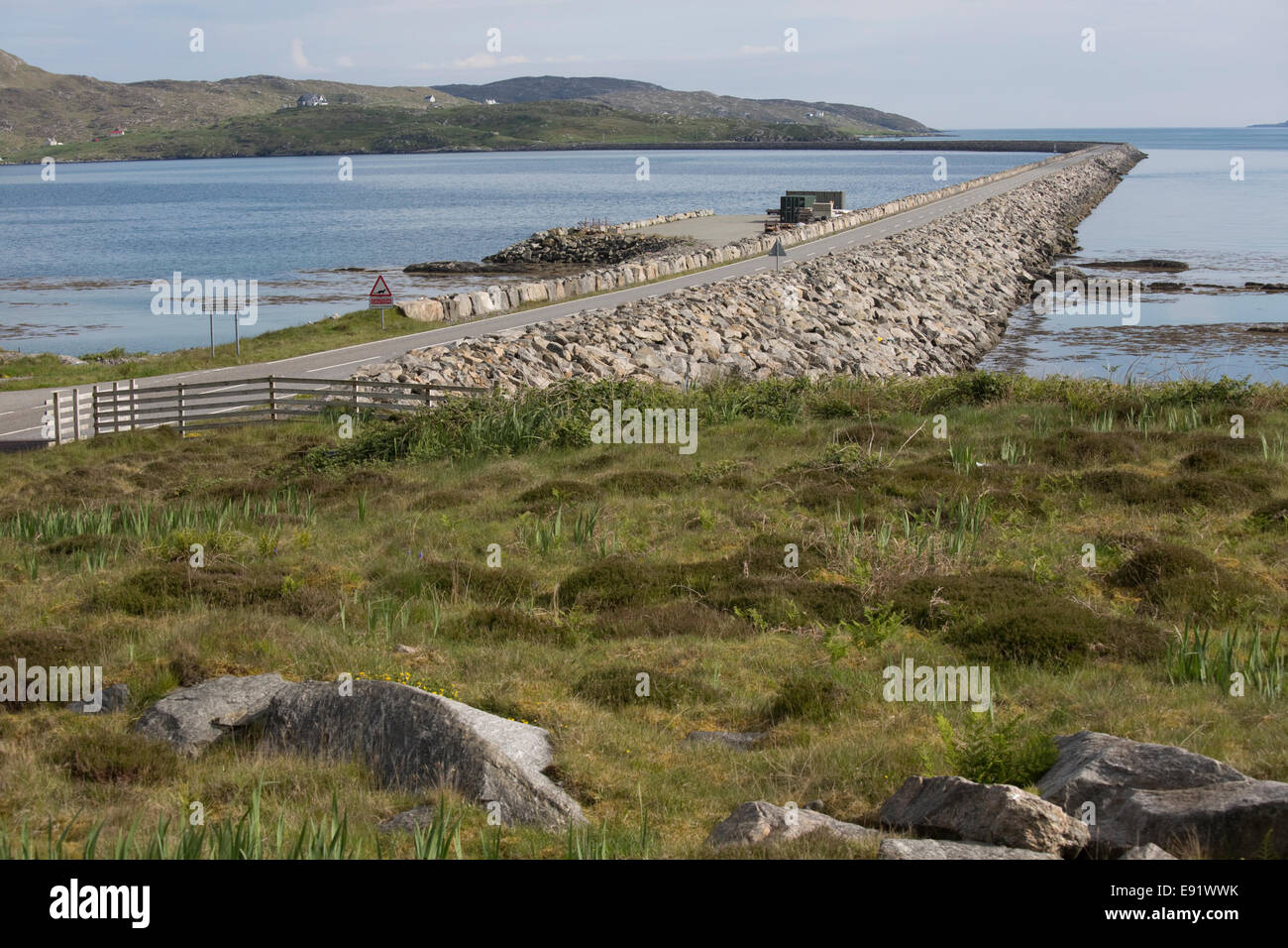 Eriskay Causeway connecting Eriskay to South Uist Outer Hebrides Scotland - Stock Image