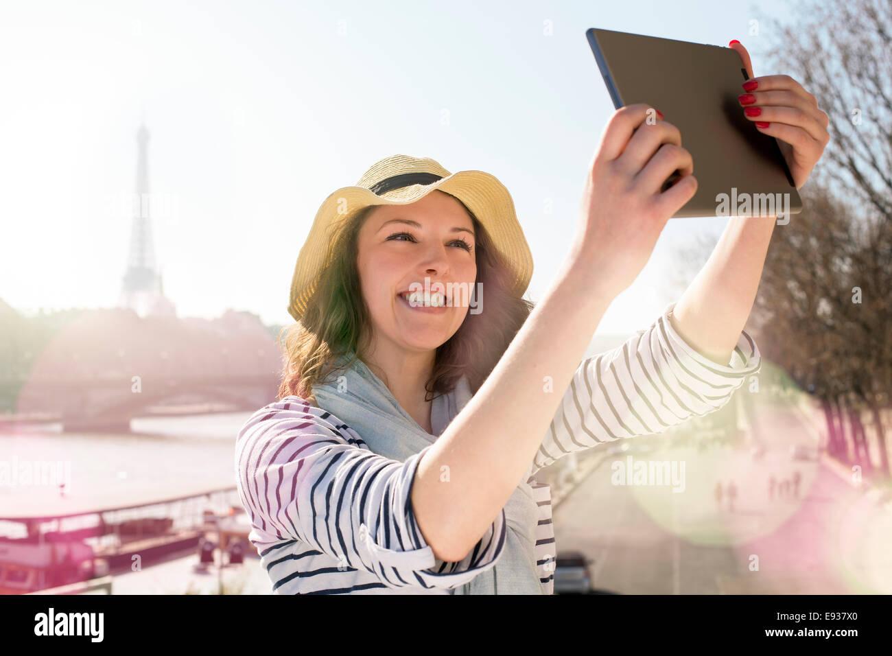 Woman Visiting Paris - Stock Image