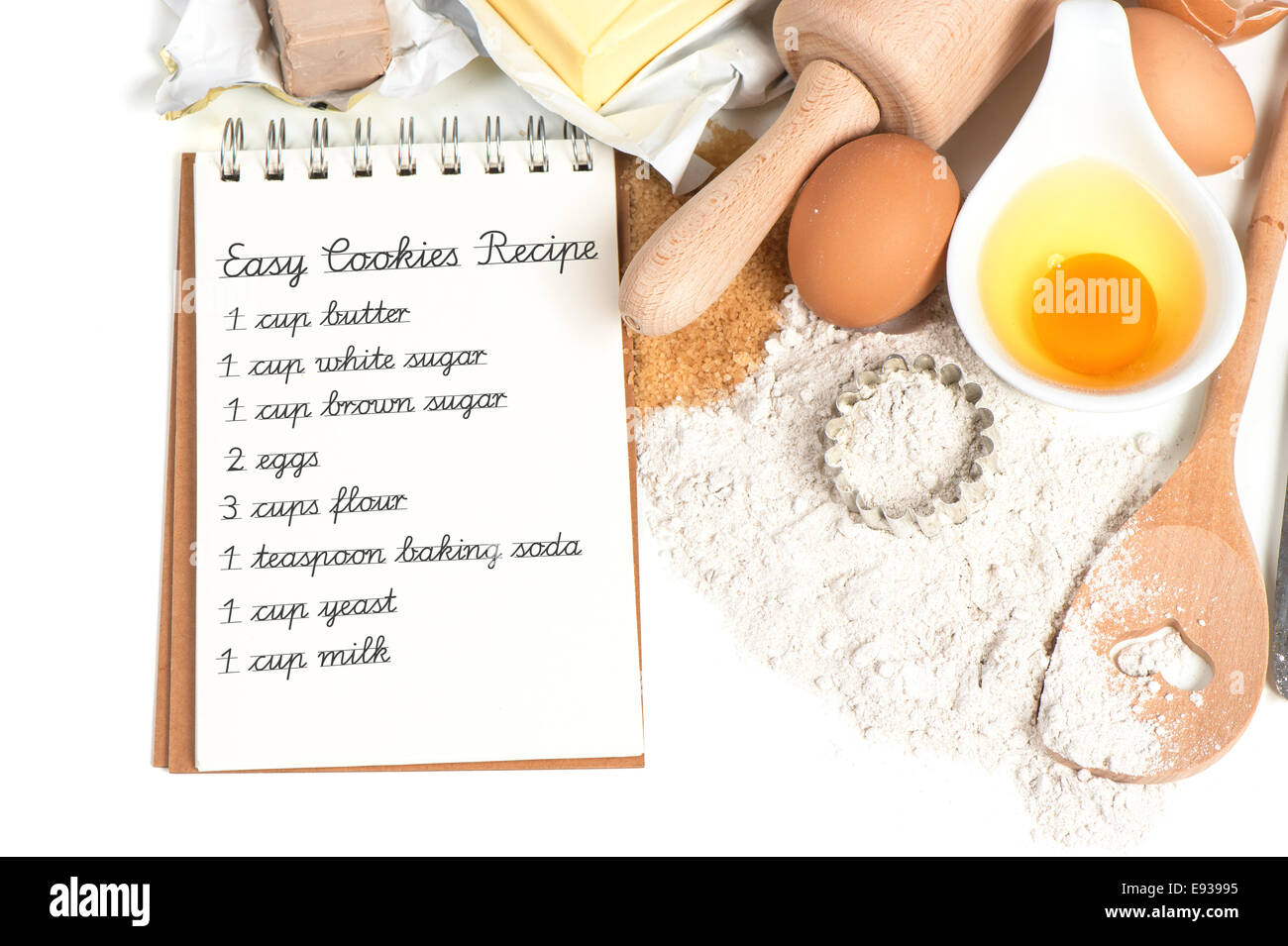 Recipe book and baking ingredients eggs flour sugar butter yeast recipe book and baking ingredients eggs flour sugar butter yeast food background sample text easy cookies recipe forumfinder Images