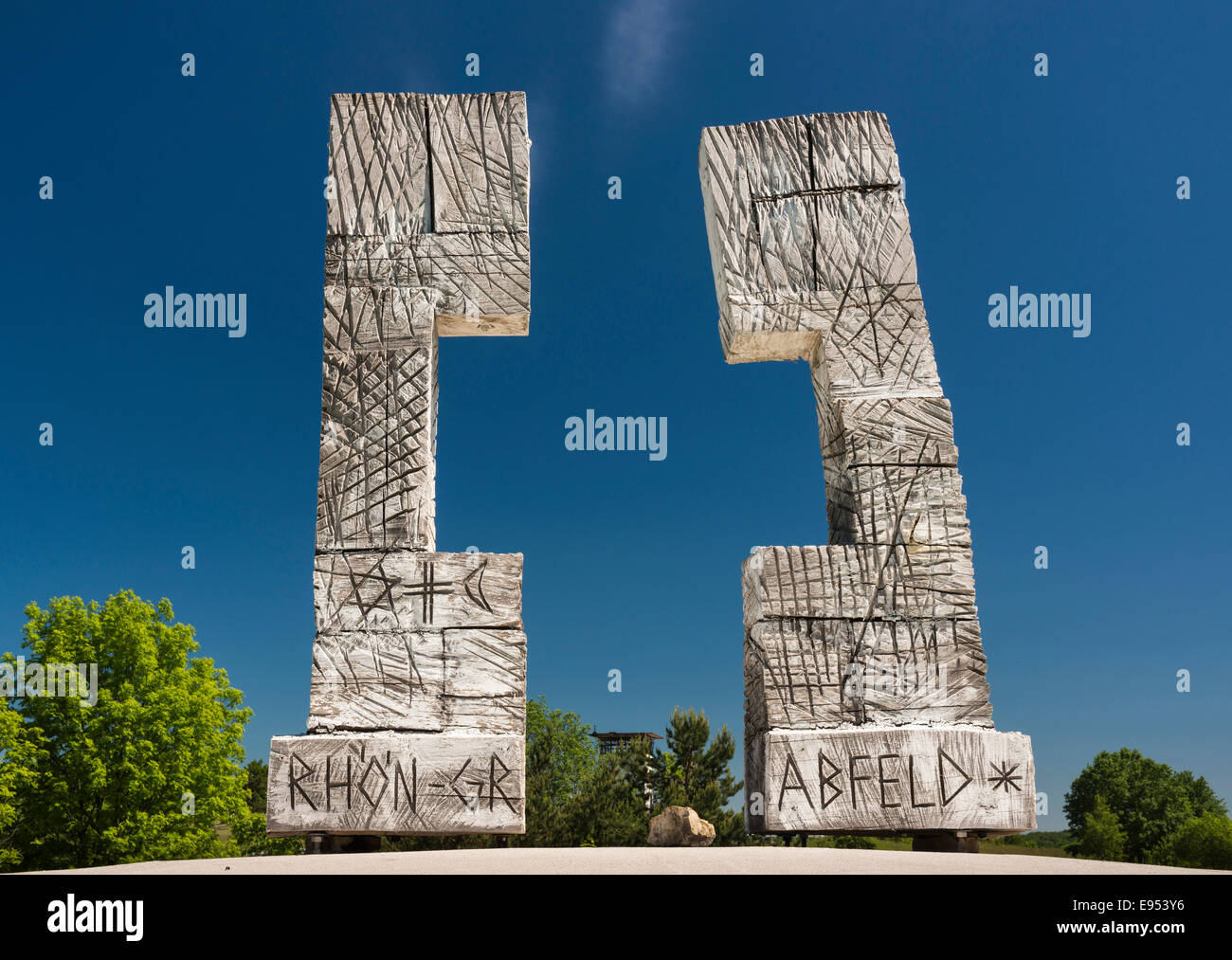 Installation 'Open Cross - a border overcome', 2010, artist Gernot Ehrsam, Skulpturenpark Deutsche Einheit - Stock Image